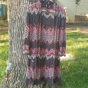 Lucky Brand Duster Open Front Cardigan Sweater Med